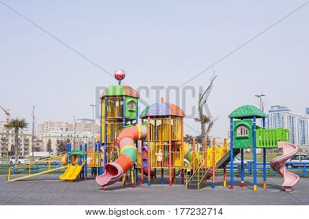 Playground with playing on it in the seaside Park of Baku city of the Azerbaijan Republic