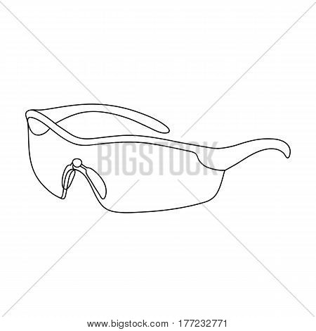 Protection for the eyes of cyclists from falling rocks.Cyclist outfit single icon in outline style vector symbol stock web illustration.