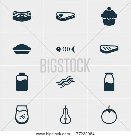 Vector Illustration Of 12 Eating Icons. Editable Pack Of Skeleton, Eggplant, Beefsteak And Other Elements.