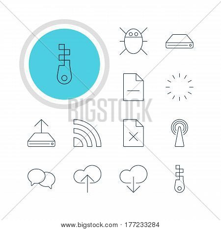 Vector Illustration Of 12 Network Icons. Editable Pack Of Data Upload, Cloud Download, Removing File And Other Elements.