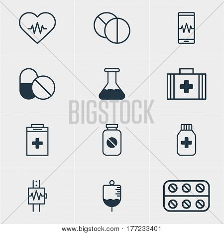 Vector Illustration Of 12 Health Icons. Editable Pack Of Antibiotic, Exigency, Aspirin And Other Elements.