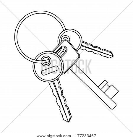 A bunch of keys from the cells in the prison. Keys for opening criminals.Prison single icon in outline style vector symbol stock web illustration.