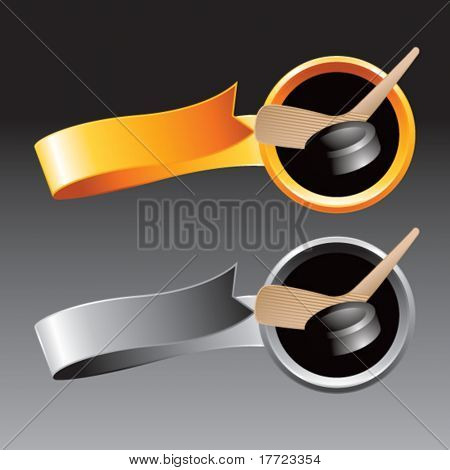 hockey stick and puck orange and gray ribbons
