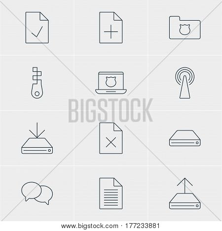 Vector Illustration Of 12 Network Icons. Editable Pack Of Note, Information Load, Privacy Doc And Other Elements.