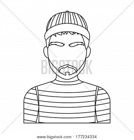 Prisoner in the prison robe. The offender is punished.Prison single icon in outline style vector symbol stock web illustration.