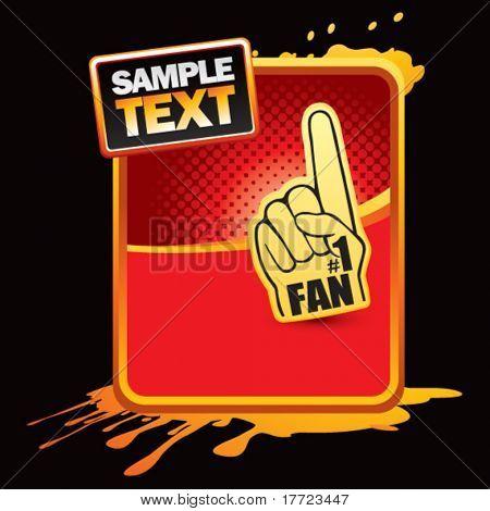 fan hand orange splattered ad