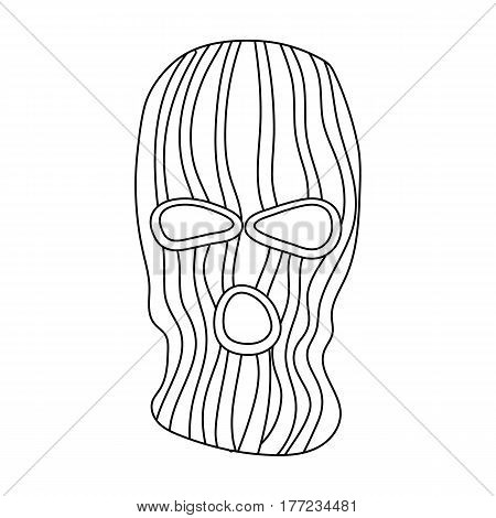 Mask to close the face of the offender from witnesses.Prison single icon in outline style vector symbol stock web illustration.