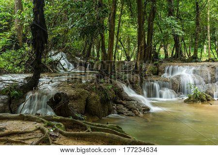 Kroeng Krawia Waterfall in Khao Laem National Park of Kanchanaburi Thailand