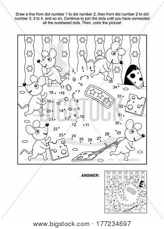 Mice and cheese cartoon connect the dots picture puzzle and coloring page. Answer included.