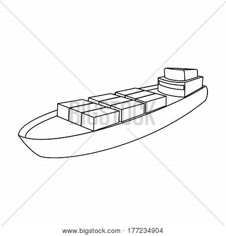 A ship for the transport of heavy goods over long distances by sea and ocean. Water freight transport.Transport single icon in outline style vector symbol stock web illustration.