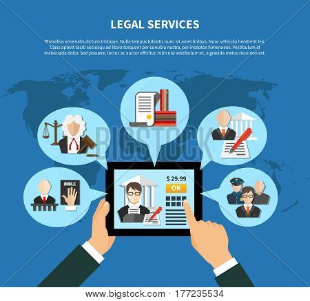 Colored flat information about law in app or in internet sites composition vector illustration