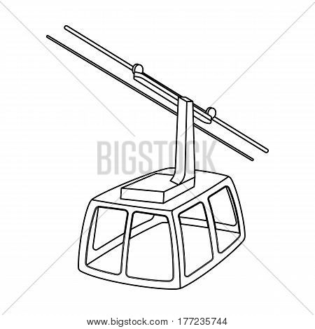 Cable car. Funicular for climbing in the mountains. Holiday winter transport.Transport single icon in outline style vector symbol stock web illustration.