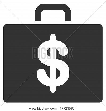 Accounting Case vector icon. Flat gray symbol. Pictogram is isolated on a white background. Designed for web and software interfaces.