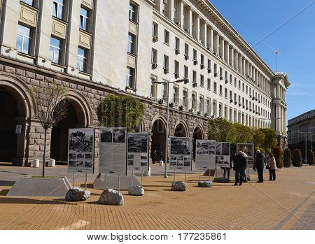 Sofia Bulgaria - October 18 2016: a View of modern building of the Council of Ministers and a historic photo exhibition in the city center of Sofia Bulgaria. The building of the Council of Ministers is constructed in 50-e years in the Stalinist style.
