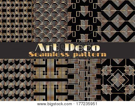 Art deco seamless pattern. Set retro backgrounds gold and black color. Style 1920's 1930's. Vector illustration.