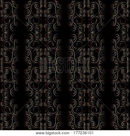Art Deco Seamless Pattern. Retro Backgrounds, Gold And Black Color. Style 1920's, 1930's. Vector Ill
