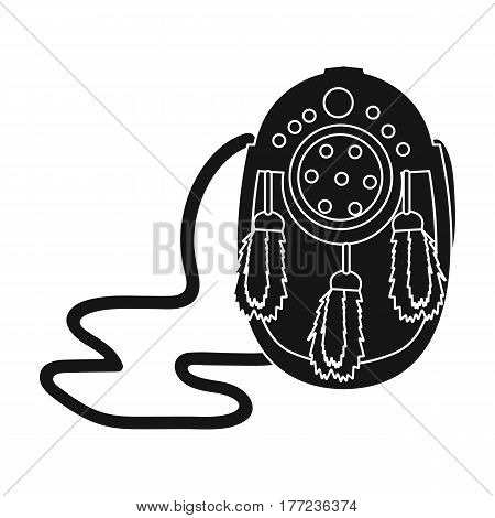 Scottish waist bag with fluff.The national dress of Scotland.Scotland single icon in black style vector symbol stock web illustration.