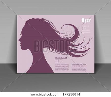 vector logo girl with flying hair for beauty salon