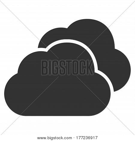 Clouds vector icon. Flat gray symbol. Pictogram is isolated on a white background. Designed for web and software interfaces.
