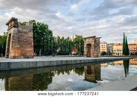 Madrid Spain - September 27 2014: Sunset on Temple of Debod. Temple of Debod. It is an Egyptian temple dating back to the 2nd century BC. The temple was donated to Spain by the Egyptian government