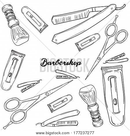 Set of vintage barbershop elements. Scissors, razor, shaving brush, barber pole, shaving mirror, moustache comp