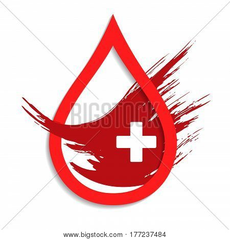 Donate drop blood sign with cross background