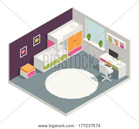 Kids room isometric composition with bed desk and carpet vector illustration