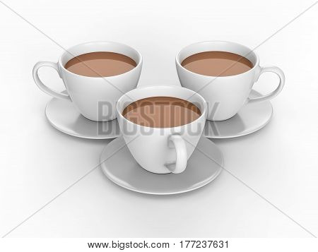 3D illustration three white cups and saucers with tea coffee on a white background