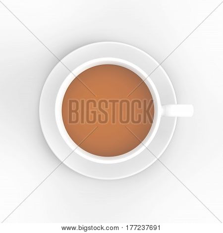 3D illustration white cup and saucer with tea coffee on a white background