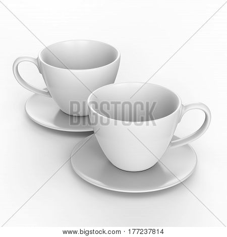 3D illustration two white cup and saucer on a white background