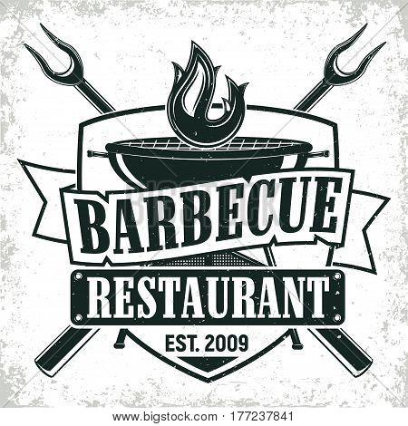 Vintage barbecue restaurant logo design,  grange print stamp, creative grill bar typography emblem, Vector