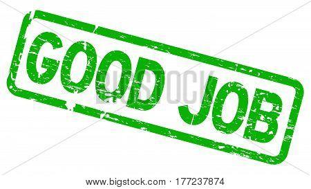 Grunge green good job square rubber seal stamp