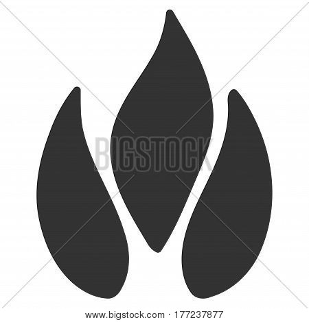Fire vector icon. Flat gray symbol. Pictogram is isolated on a white background. Designed for web and software interfaces.