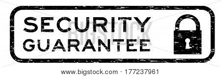 Grunge black security assurance with lock icon square rubber seal stamp