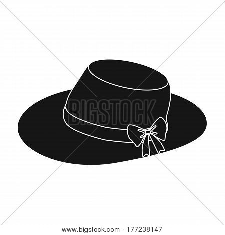 Red female hat with a bow. Summer hat for adult women.  Woman clothes single icon in black style vector symbol stock web illustration.