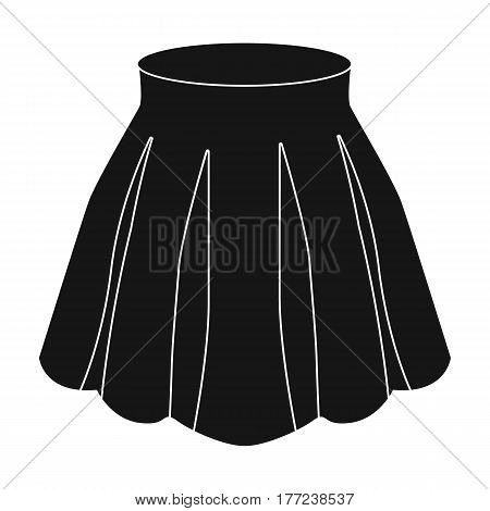 Orange women s light summer skirt with pleats. Beautiful women s summer clothing. Woman clothes single icon in black style vector symbol stock web illustration.