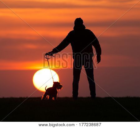 Silhouette Of Man With Dog At Sunset