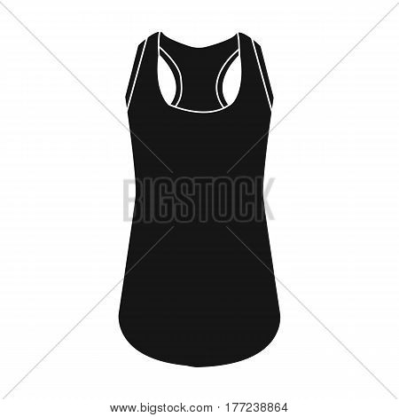 Blue Sports Women s T-shirt. sports clothes. Woman clothes single icon in black style vector symbol stock web illustration.