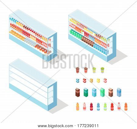 Milky food in shop showcase isometric vector illustration. Diary products on supermarket shelves 3d model isolated on white background. Grocery store equipment isometry for game, app, icon, web design