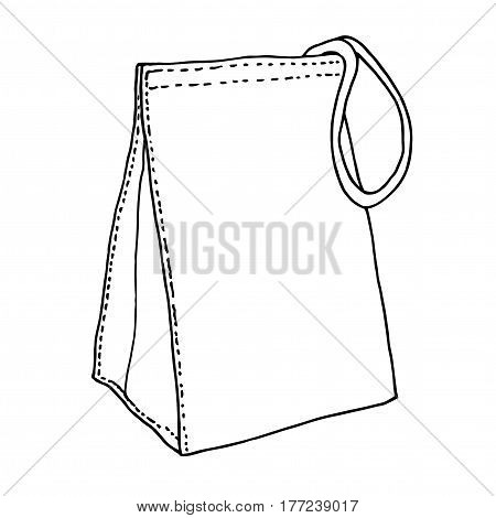 Lunch bag. Reusable textile eco lunch bag. Cotton food bag concept. Sketch drawing. Vector hand drawn illustration.