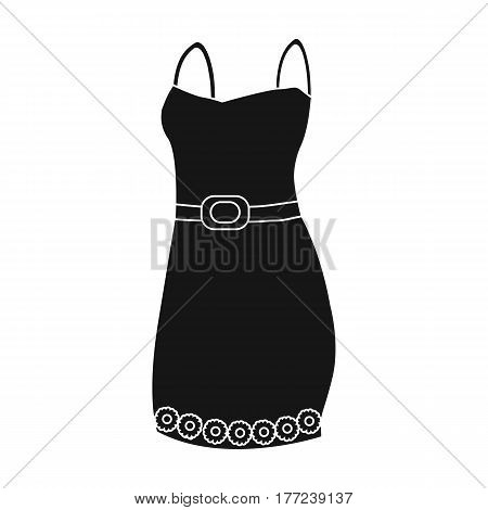 Beautiful red evening dress for women. Detail of a woman wardrobe.  Woman clothes single icon in black style vector symbol stock web illustration.