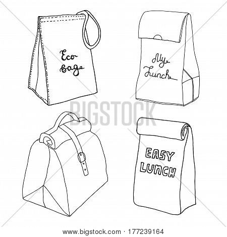 Lunch bag collection. Easy lunch box concepts. Eco bag, My lunch. Various food bags and food boxes. Hand drawn vector sketch set.
