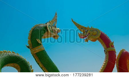 King of Nagas or Great Nagas on blue sky background