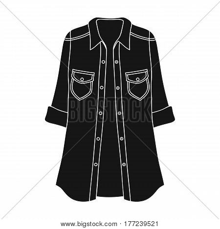 Green Women s jacket with buttons and short sleeves. Casual wear for the stylish woman.Women clothing single icon in black style vector symbol stock web illustration.