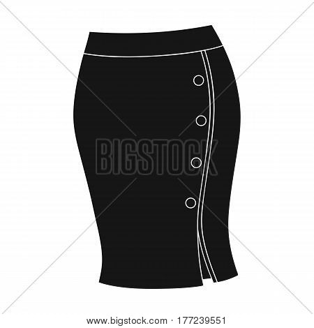 Blue-fitting skirt with slit and buttons. Part strict working style of clothing.Women clothing single icon in black style vector symbol stock web illustration.