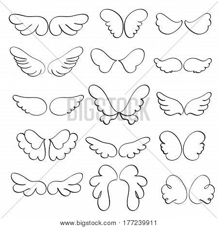 Set of angel wings on a white background. Calligraphy Vector illustration EPS10.