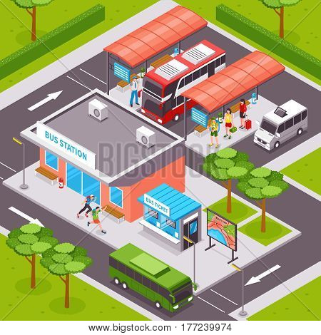 Bus station isometric design with  tourists on platforms public transport ticket office and road infrastructure vector illustration