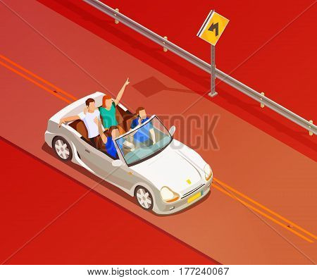 Young friends riding open top white luxury convertible car isometric poster with red colored background vector illustration