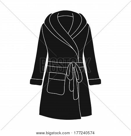 Green lady s gown after bath. Home clothes for women. Woman clothes single icon in black style vector symbol stock web illustration.