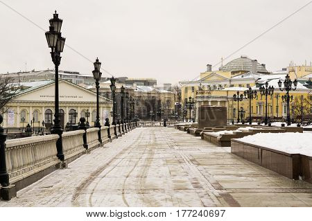 Moscow, Russia - February 1, 2017: Alley on the Manege Square in Moscow